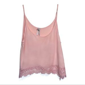 NWOT - Rayon/Spandex Light Pink Top Crochet Lace